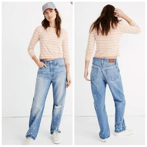 Madewell the Dad Jean Bleached Distressed Jeans